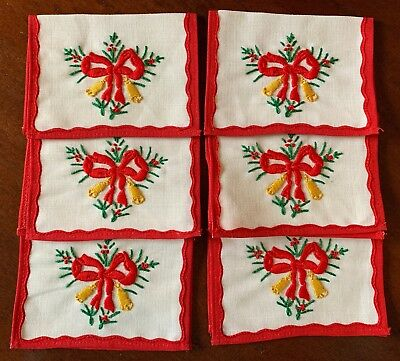 Vintage Christmas Cocktail Napkins, Set of 6, Embroidered, Linen, Red Band