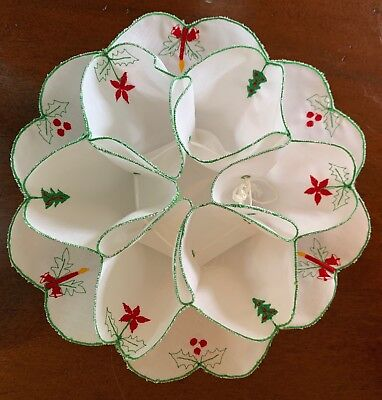 Vintage Christmas Roll Holder, White Green Trim, Embroidered Candle, Holly, Tree