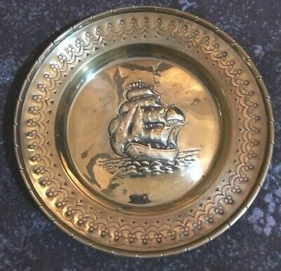 Vintage Antique Brass Embossed Sailing Ship Wall Plate Plaque Columbus Dutchman