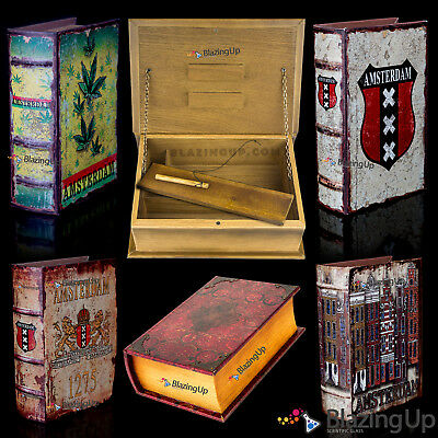 Deluxe Wooden Rolling Boxes | Stash Book Smokers Box | Magnetic Closure | Safe