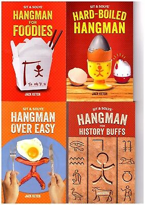 4 Sit & Solve HANGMAN Books All NEW Over Easy, History Buffs, Hard Boiled, Food