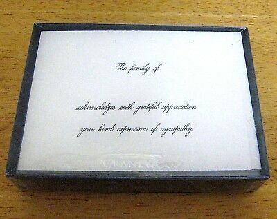< NEW Crane HAND ENGRAVED SYMPATHY ACKNOWLEDGEMENT NOTES (10ct) Pearl White