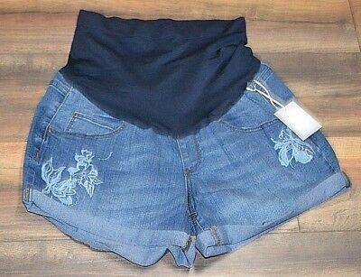 a:glow Maternity Embroidered Boyfriend Shorts Maternity Jean Shorts Belly Band