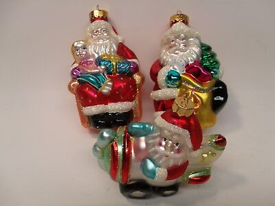 Blown Glass Santa Claus Ornament Lot UT