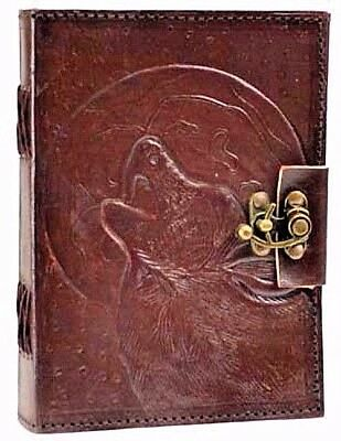 Wolf Leather Book of Shadows w/ Latch Blank Journal Wicca Pagan Lupine Diary Log