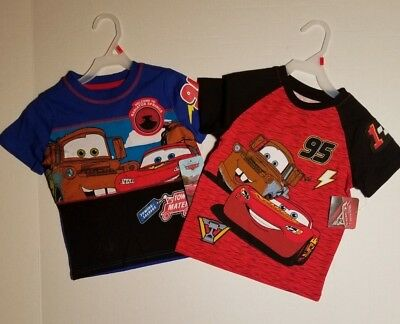 Disney Cars T Shirt *2 PACK* Toddler Boys Short Sleeve 2T 3T OR 4T NWT FAST SHIP