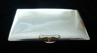 Vintage French Sterling ? Silver Cigarette Case Gold Clasp - G Keller Paris Boar