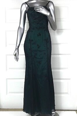 VTG Cache maxi dress size 4 S/XS evening gown Forest green Black beaded gauze