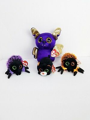 """Beanie Boos Lot 3 Teeny Tys Creepy Webster Spiders Treat Cat 6"""" Count Halloween"""