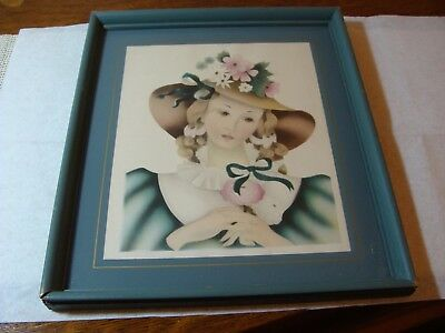Antique Vtg 40's Country Farm Cottage Floral Lady BORIN Print Framed Art Picture
