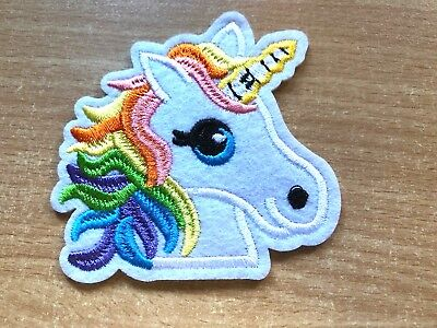 1 Rainbow Unicorn Head Embroidery Clothing Iron-On Patch Applique