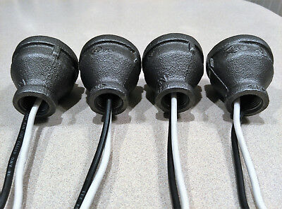 Steampunk Industrial Black Iron Pipe Lamp Parts With Sealed Socket SET OF 4