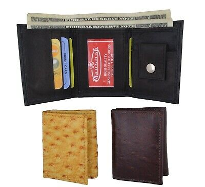 NEW Kids Genuine Leather Ostrich Small Trifold Money Photo Wallet by Marshal
