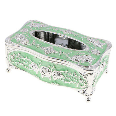 Lovoski Tissue Box Cover Napkin Case Holder Living Room Decor-Sliver Green