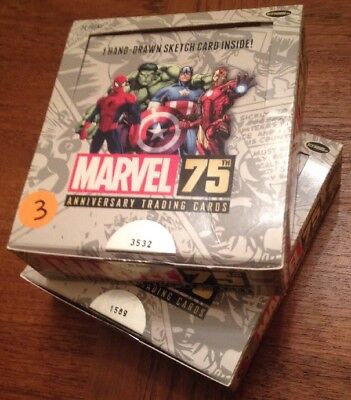 Marvel 75th Anniversary Trading Card Empty Boxes. #'s 3532 & 1589 of 6000
