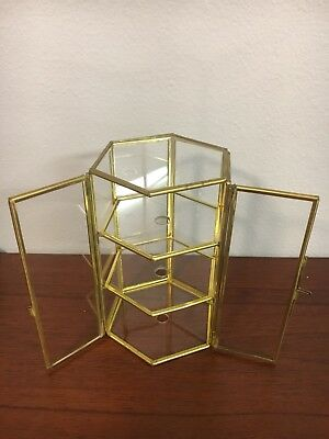 Vintage Brass Miniature Glass Curio Display Cabinet Case Double Door 3 Shelf