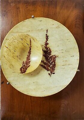 VINTAGE MID CENTURY FIBERGLASS FOOTED TRAY AND BOWL leaf Gold Strands