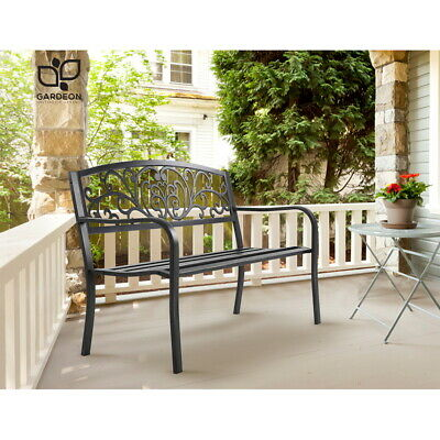 Vintage Garden Bench Outdoor Chair Patio Park Cast Iron Steel Weatherproof Black