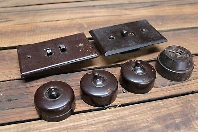 Vintage Bakelite Light Switches Wall Art Deco Mottled Brown Antique