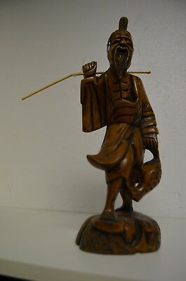 "Antique Chinese Figurine Fisherman Carved Wood Tribal Asian Old Bearded Man 12""T"