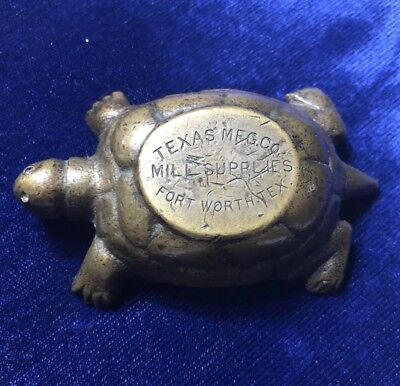 Texas Mfg Co Mill Supplies Fort Worth Tex Bronze Turtle Advertising Paperweight