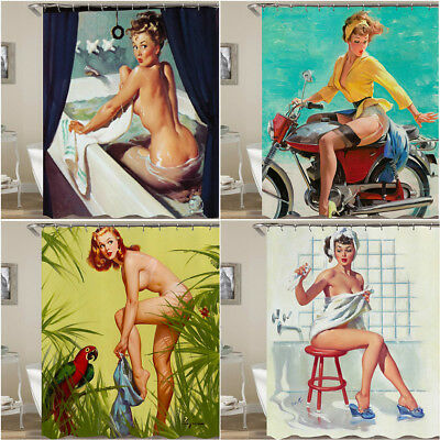 Vintage PINUP GIRLS Waterproof Fabric Shower Curtain Bath Curtain With Hooks