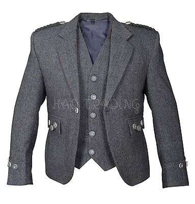 Argyll Jacket, Grey Tweed With 5 Button Waist Coat, matching bone buttons.