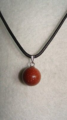 Birthstone Gold Sand Stone Pendant Ball Leather Necklace Gemstone J462