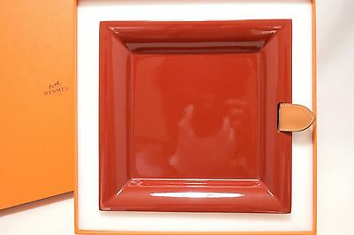 e87f1def9bd1 Hermes LACQUER Wooden Tray Chakor Leather TAB Cherry Valet tray Palte VIDE  POCHE