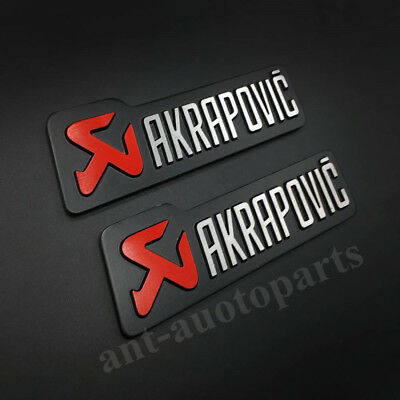 2pcs Metal AKRAPOVIC Exhaust Heat Resistant Foil Auto Emblem Badge Decal Sticker