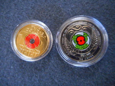 Anzac Remembrance Armistice Red Poppy +Nz50 Cents $2 Coin