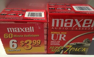 Maxell Ur-90 7PK + UR-60 6 Pack Normal Bias Audio Cassette Tape Bundle LOT Of 13