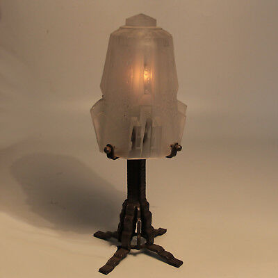 Art Deco French Muller Freres Frosted Glass & Wrought Iron stand Lamp Circa 1930