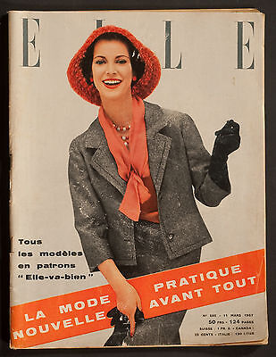 'elle' French Vintage Magazine Spring Fashion Issue 11 March 1957