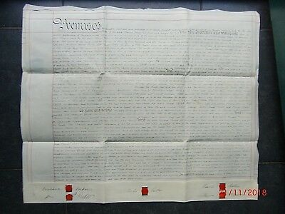 1878.Vellum INDENTURE. WINDSOR PARKER. M.P. to Thos.MAW. NEEDHAM MARKET. SUFFOLK