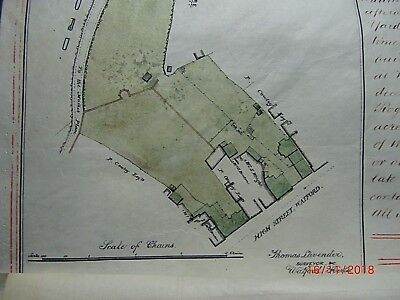 1851.(2 PAGE) & COLOURED PLAN. Vellum INDENTURE.  YOUNG / MOORE. WATFORD. Herts.