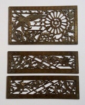 3 Antique Brass/Bronze Aesthetic Movement Grill Grate Vent Panels Makers Name