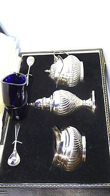 Solid Silver Condiment Set Hallmarked Birmingham With Original Case.