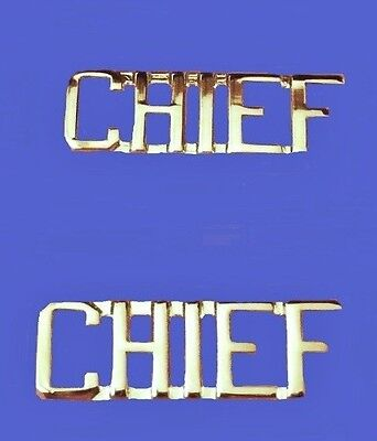 Chief Collar Pin Set Cut Out Letters Fire Dept Police Military Rank Nickel 2419