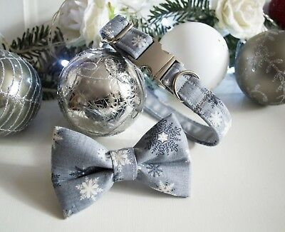 Christmas Dog Collar  Bow Tie Sets  Grey White Snowflakes  Xmas Gifts Puppy Pets