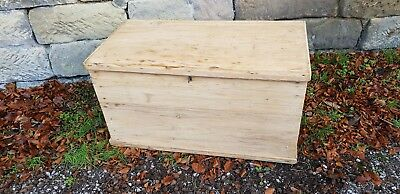 Antique Large Victorian Pitch Pine Blanket Box Coffer Chest Storage Coffee Table