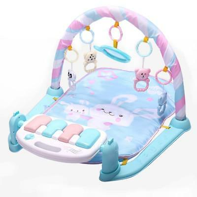 Kids Gym Blue Months Soft Lighting Rattles Musical Babies Toys Play Piano 0-12