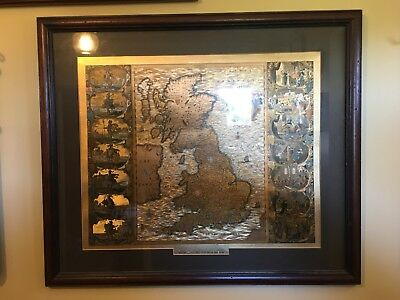 A Large vintage Gold Chromite map Of Britain