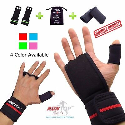 Workout Fitness Gloves Gym Weight Lifting Crossfit  Hand Grips Pad Palm Protect