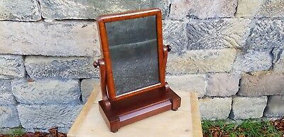 Antique Georgian Mahogany Toilet Mirror / Dressing Table Mirror With Drawer