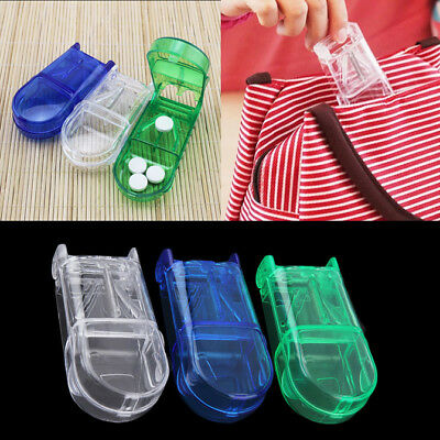 Portable Travel Medicine Pill Compartment Box Case Storage with Cutter Blade BLT