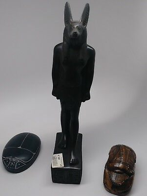 Anubis Statue +Commemorative Scarab + Heart Scarab