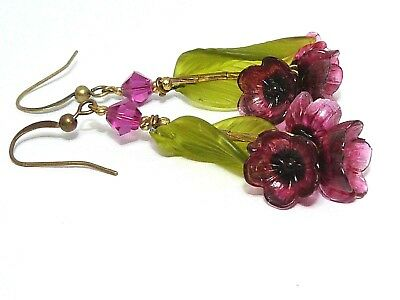 NOS Vintage Art Deco / 50s red glass flower & leaf earrings -match old necklaces