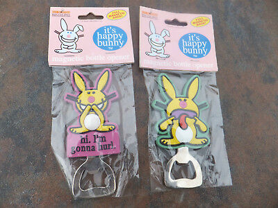 "2 New Hot Properties "" it's happy bunny "" Magnetic Bottle Openers I'm gonna hurl"