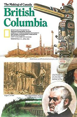 National Geographic Society The Making of Canada British Columbia 1992 Guide Map